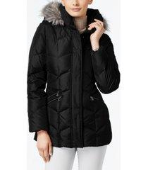 larry levine faux-fur-trim hooded puffer coat