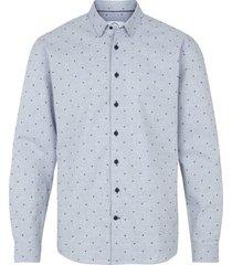 kronstadt heren overhemd dean jacquard licht stip blauw
