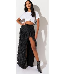 akira party time tulle layered maxi skirt