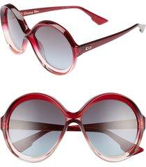 women's dior bianca 58mm round sunglasses - burgundy/ pink