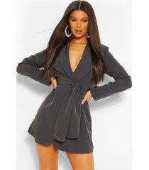 petite geplooide blazer jurk, slate grey