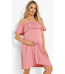 zwangerschap overlay swing jurk met uitgesneden hals, rose