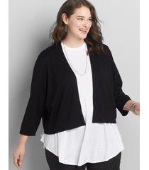 lane bryant women's 3/4-sleeve shrug black