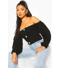 knitted bardot button detail crop top, black