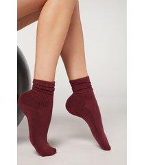 calzedonia short sport socks woman burgundy size tu