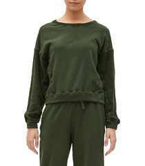 women's michael stars ezra mixed media sweatshirt, size large - green