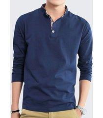 maglietta casuale lunga solida del manicotto del collare del basamento di modo degli uomini