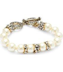 heidi daus women's goldplated, faux pearl & crystal bracelet