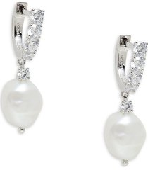 adriana orsini women's felicity rhodium-plated, cubic zirconia & pearl drop earrings
