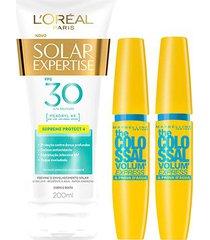 kit 2 máscaras the colossal à prova d'água + protetor solar l'oréal paris fps30 200ml
