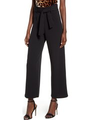 women's leith high waist belted pants, size medium - black
