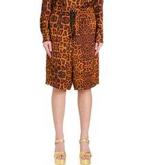 dries van noten bermuda shorts in leopard satin