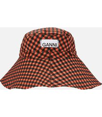 ganni women's seersucker check hat - flame - xs/s
