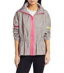 terez women's reflective peplum jacket - grey - size m