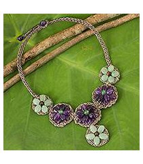 amethyst and quartz beaded flower necklace, 'purple daisy' (thailand)