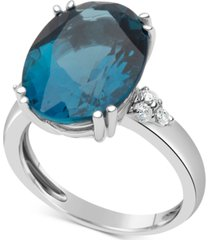blue topaz (12 ct. t.w.) & diamond (1/5 ct. t.w.) ring in 14k white gold