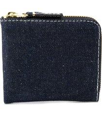 comme des garçons wallet denim zip wallet - blue