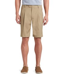 jos. a. bank men's david leadbetter traditional fit pleated front performance golf shorts clearance, british tan, 44 regular