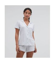 pijama americano manga curta e shorts liso com bolso | lov | cinza | gg
