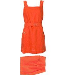 hermès pre-owned belted skirt playsuit - orange