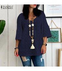 zanzea mujer ata cuello en v manga 3/4 ahueca hacia fuera las tapas flojas ocasionales camisas blusas -azul marino
