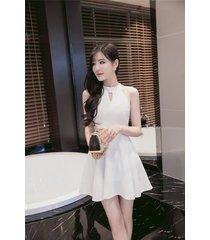 pf260 sexy cute sleveless swing mini dress, size s-xl, white