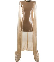david koma sequined cape dress - neutrals