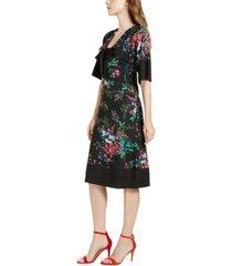 trina trina turk bow floral-print a-line dress