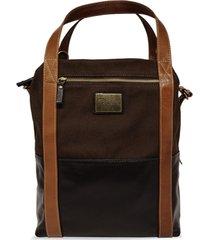 bolsa carteiro de lona e couro jean - lona marrom/couro café/caramelo - tricae