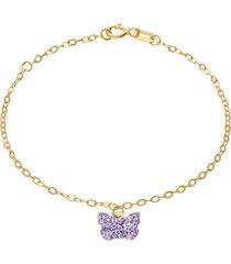 bracciale in oro giallo con ciondolo farfalla e strass viola per bambini