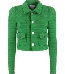 bottega veneta single breasted compact cotton mesh jacket