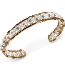 inc gold-tone imitation pearl cuff bracelet, created for macy's