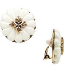 patricia nash gold-tone flower clip-on button earrings