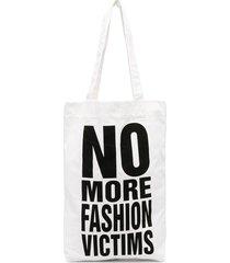 katharine hamnett london no more fashion victims tote bag - white