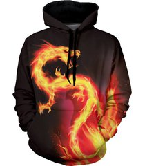 fire dragon graphic front pocket casual hoodie