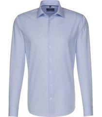 seidensticker heren overhemd zeer fijne ruitjes poplin tailored fit blauw