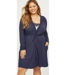 lane bryant women's ribbed hooded robe with pockets 14/16 new navy
