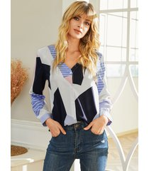 yoins botón blanco diseño blusa de manga larga con cuello de pico geométrico