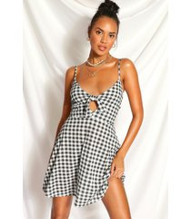 gingham knot front flippy dress, black