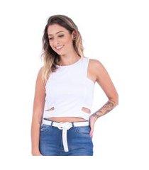 regata cropped up side wear básico branco