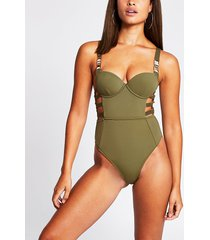 river island womens khaki plunge strappy cut out swimsuit