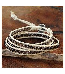 smoky quartz wrap bracelet, 'subtle sigh' (thailand)
