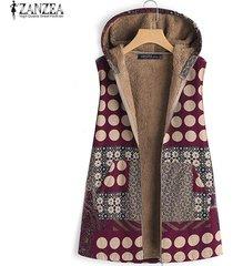 zanzea sudaderas con capucha para mujer chaleco de lunares chaleco de otoño abrigo con capucha tallas grandes -rojo