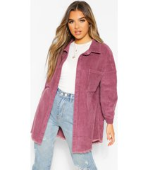 petite raw edge oversized cord shirt, mauve