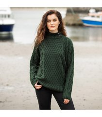 womens glengarriff green aran sweater medium
