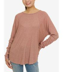 hippie rose juniors' cozy lattice-back dolman-sleeve top