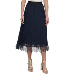 dkny pleated lace-trim skirt