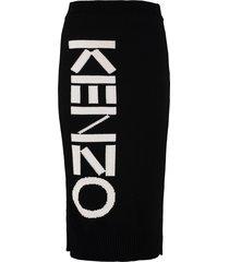 kenzo logo detail knitted skirt