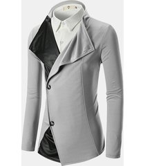 mens patchwork sottile giacca casual monocolore in tinta unita