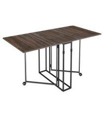 mesa de jantar retangular luna marrom e preta 140 cm